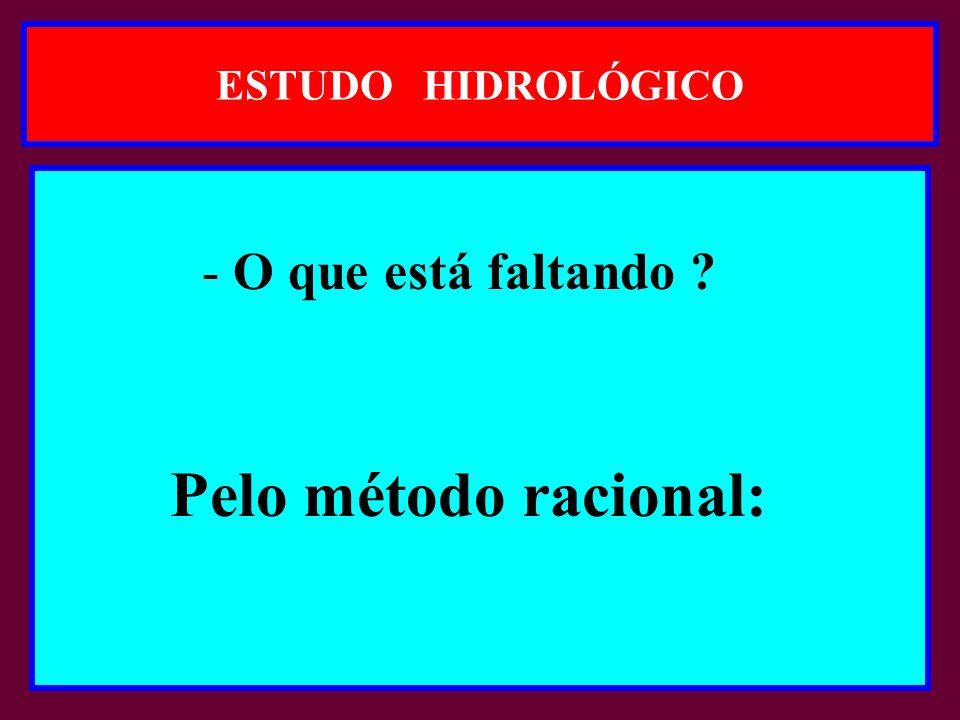 ESTUDO HIDROLÓGICO - O que está faltando ? Pelo método racional: