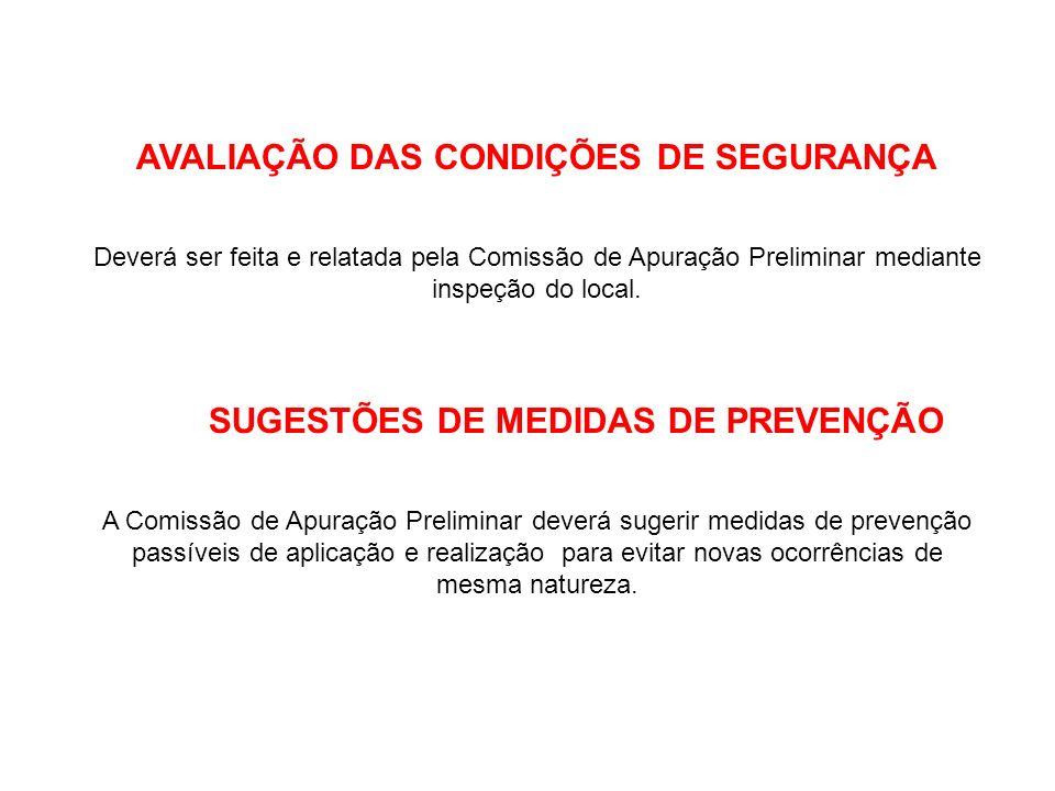 AVALIAÇÃO DAS CONDIÇÕES DE SEGURANÇA Deverá ser feita e relatada pela Comissão de Apuração Preliminar mediante inspeção do local. SUGESTÕES DE MEDIDAS