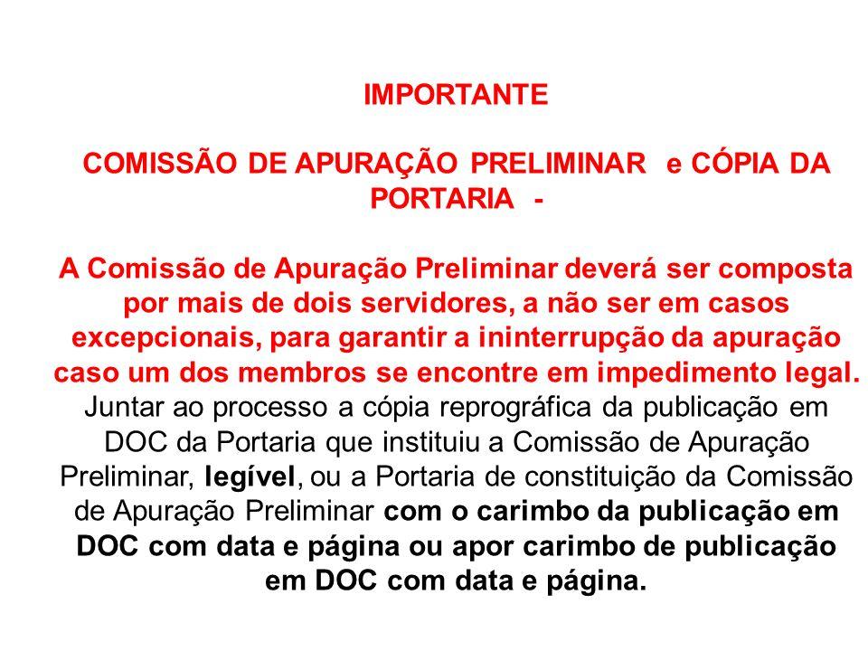 IMPORTANTE COMISSÃO DE APURAÇÃO PRELIMINAR e CÓPIA DA PORTARIA - A Comissão de Apuração Preliminar deverá ser composta por mais de dois servidores, a