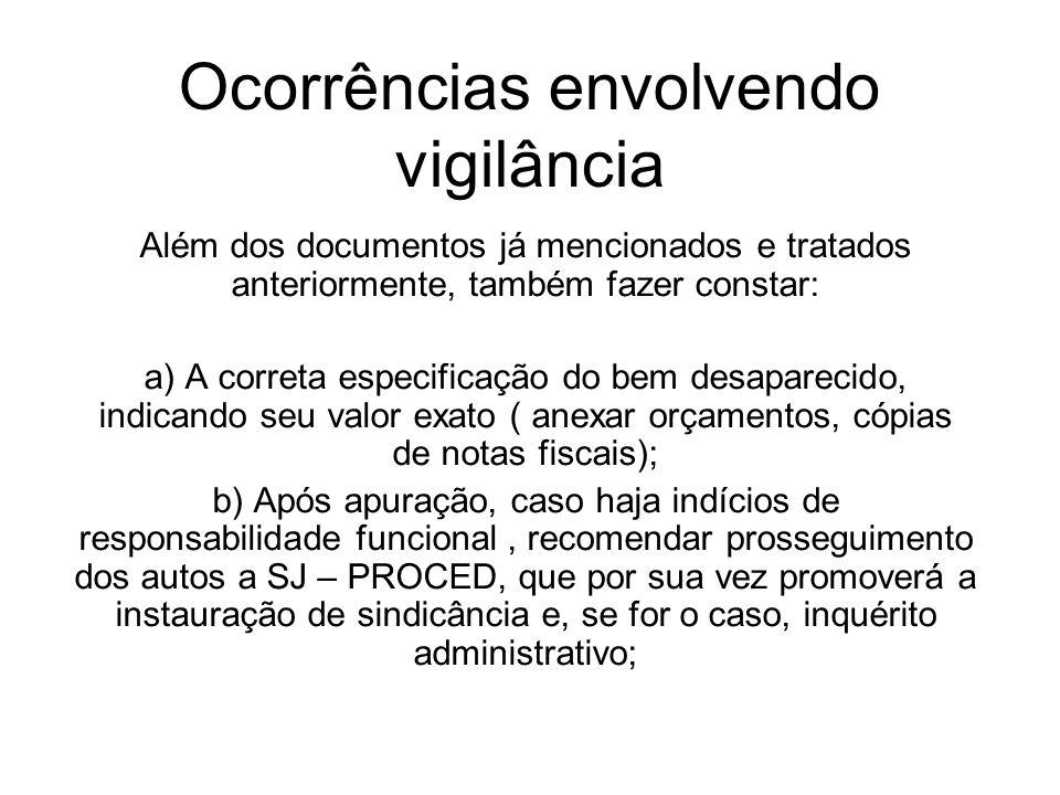 Ocorrências envolvendo vigilância Além dos documentos já mencionados e tratados anteriormente, também fazer constar: a) A correta especificação do bem