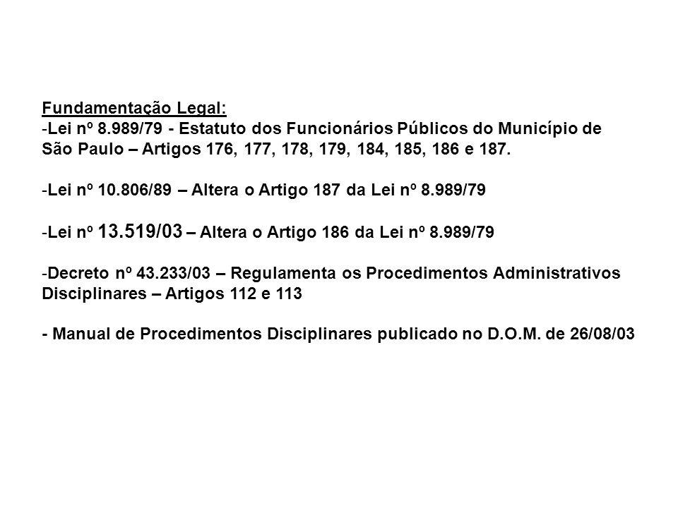 Fundamentação Legal: -Lei nº 8.989/79 - Estatuto dos Funcionários Públicos do Município de São Paulo – Artigos 176, 177, 178, 179, 184, 185, 186 e 187
