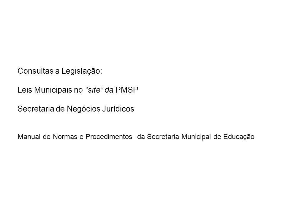 Consultas a Legislação: Leis Municipais no site da PMSP Secretaria de Negócios Jurídicos Manual de Normas e Procedimentos da Secretaria Municipal de E