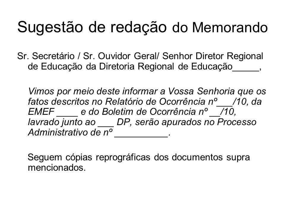 Sugestão de redação do Memorando Sr. Secretário / Sr. Ouvidor Geral/ Senhor Diretor Regional de Educação da Diretoria Regional de Educação_____, Vimos