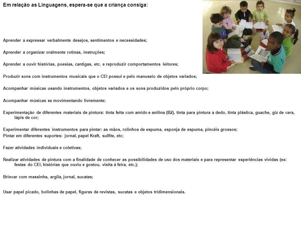 Em relação as Linguagens, espera-se que a criança consiga: Aprender a expressar verbalmente desejos, sentimentos e necessidades; Aprender a organizar