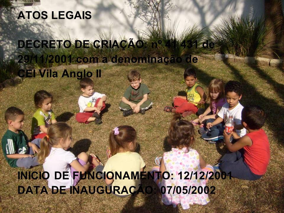 ATOS LEGAIS DECRETO DE CRIAÇÃO: nº 41 431 de 29/11/2001 com a denominação de CEI Vila Anglo II INICIO DE FUNCIONAMENTO: 12/12/2001 DATA DE INAUGURAÇÃO