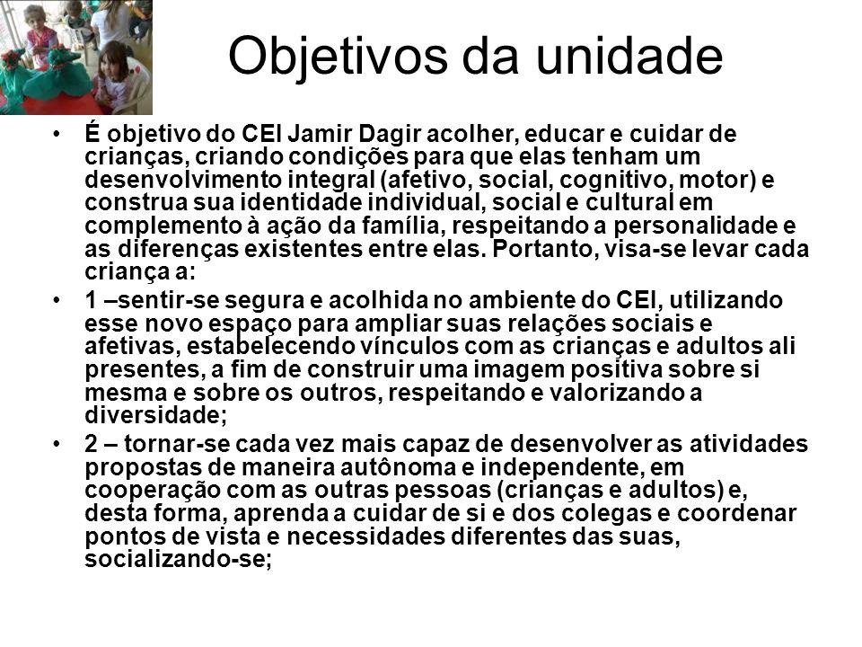 Objetivos da unidade É objetivo do CEI Jamir Dagir acolher, educar e cuidar de crianças, criando condições para que elas tenham um desenvolvimento int