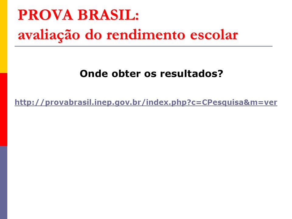 PROVA BRASIL: avaliação do rendimento escolar Onde obter os resultados.