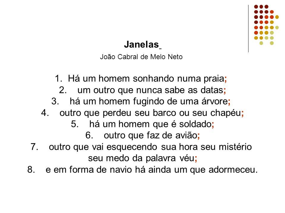 Janelas João Cabral de Melo Neto 1. Há um homem sonhando numa praia; 2.