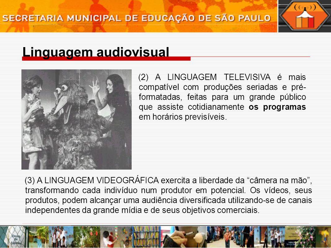 Linguagem audiovisual (2) A LINGUAGEM TELEVISIVA é mais compatível com produções seriadas e pré- formatadas, feitas para um grande público que assiste cotidianamente os programas em horários previsíveis.