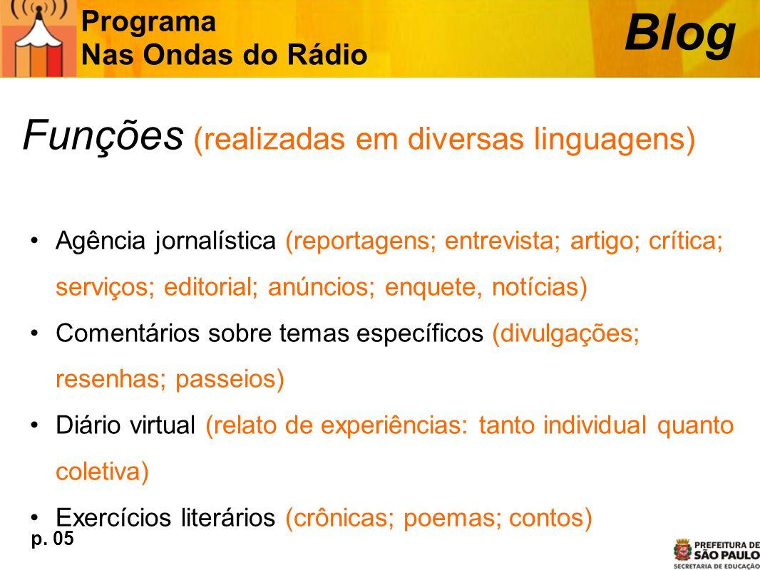 Funções (realizadas em diversas linguagens) Agência jornalística (reportagens; entrevista; artigo; crítica; serviços; editorial; anúncios; enquete, no