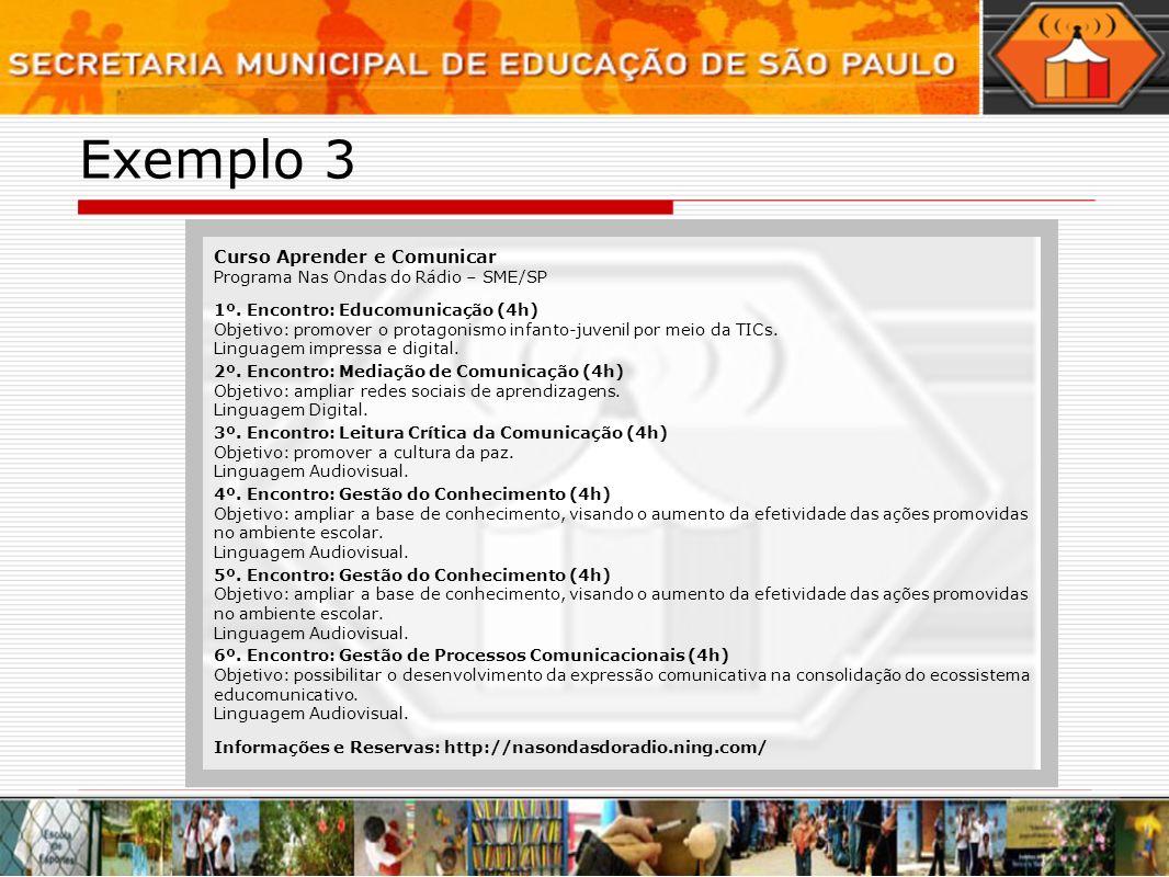 Exemplo 3 Curso Aprender e Comunicar Programa Nas Ondas do Rádio – SME/SP 1º. Encontro: Educomunicação (4h) Objetivo: promover o protagonismo infanto-