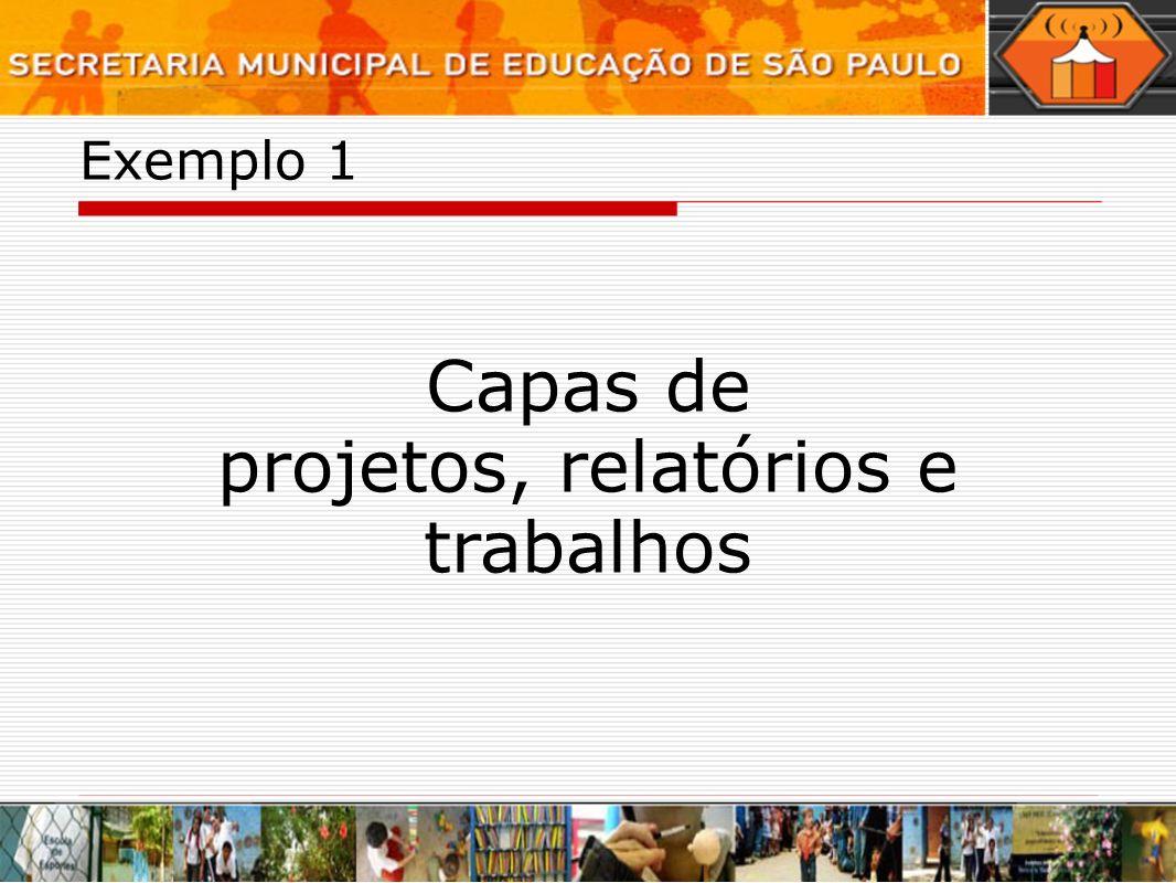 Exemplo 1 Capas de projetos, relatórios e trabalhos