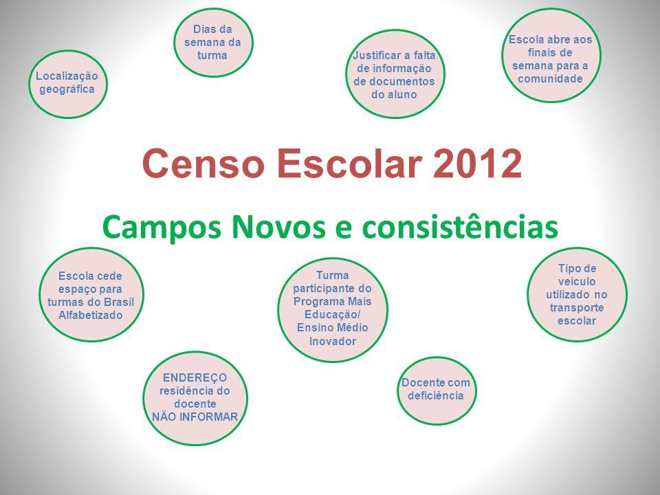 Campos Novos e consistências Censo Escolar 2012 Localização geográfica Escola cede espaço para turmas do Brasil Alfabetizado Escola abre aos finais de