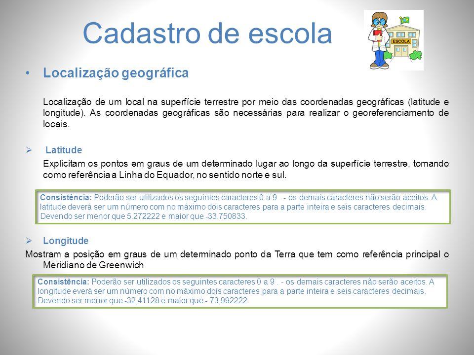 Cadastro de escola Localização geográfica Localização de um local na superfície terrestre por meio das coordenadas geográficas (latitude e longitude).