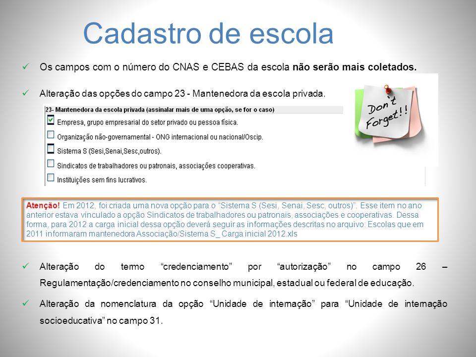 Cadastro de escola Os campos com o número do CNAS e CEBAS da escola não serão mais coletados. Alteração das opções do campo 23 - Mantenedora da escola