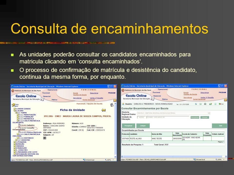 Consulta de encaminhamentos As unidades poderão consultar os candidatos encaminhados para matricula clicando em consulta encaminhados. O processo de c