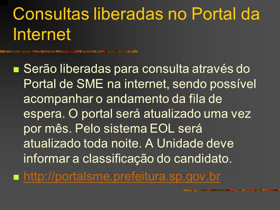 Consultas liberadas no Portal da Internet Serão liberadas para consulta através do Portal de SME na internet, sendo possível acompanhar o andamento da