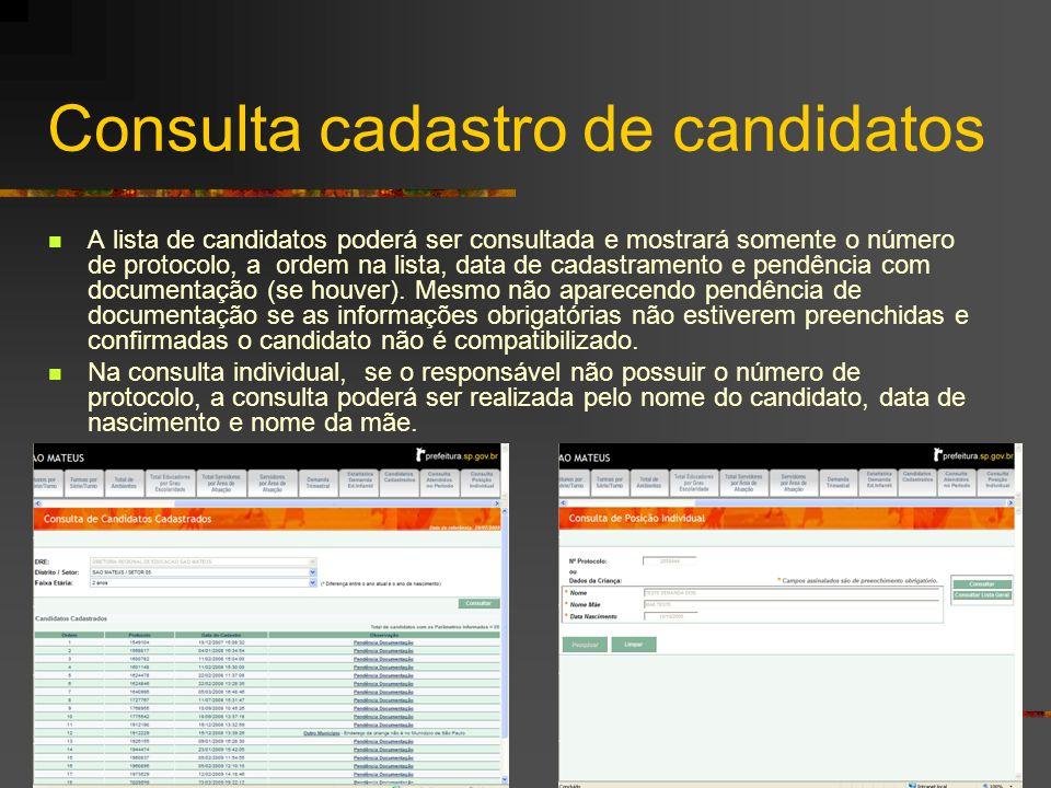 Consulta cadastro de candidatos A lista de candidatos poderá ser consultada e mostrará somente o número de protocolo, a ordem na lista, data de cadast
