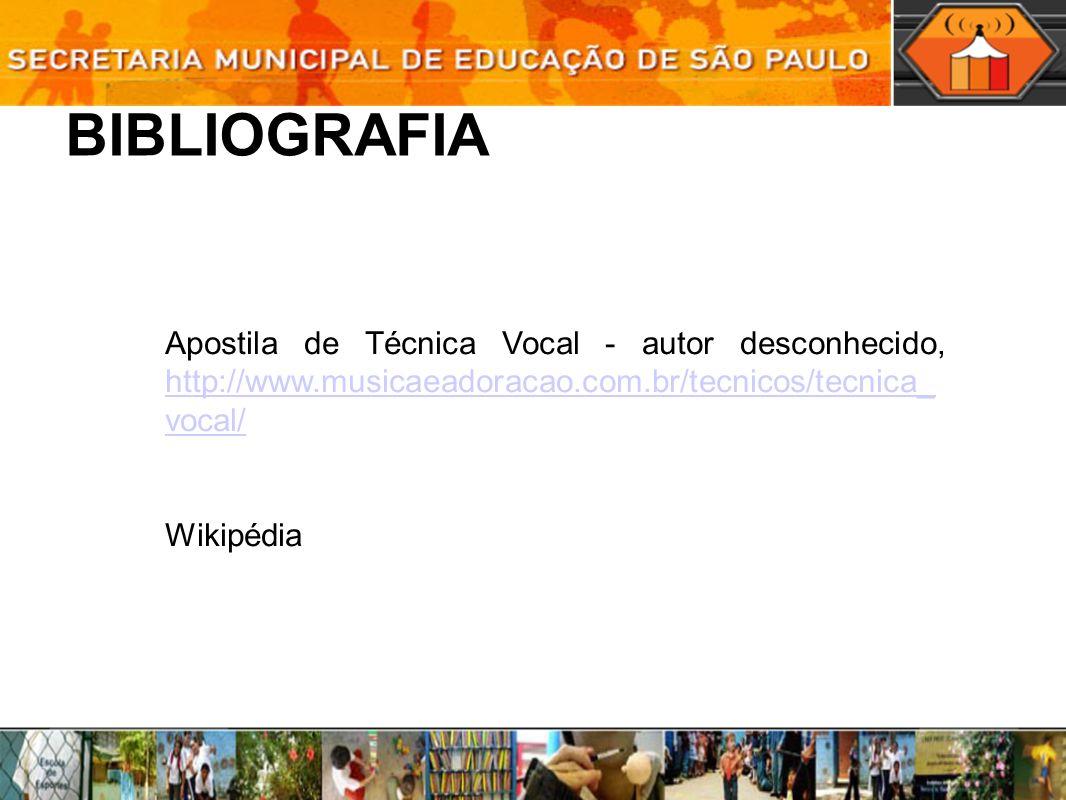 BIBLIOGRAFIA Apostila de Técnica Vocal - autor desconhecido, http://www.musicaeadoracao.com.br/tecnicos/tecnica_ vocal/ http://www.musicaeadoracao.com