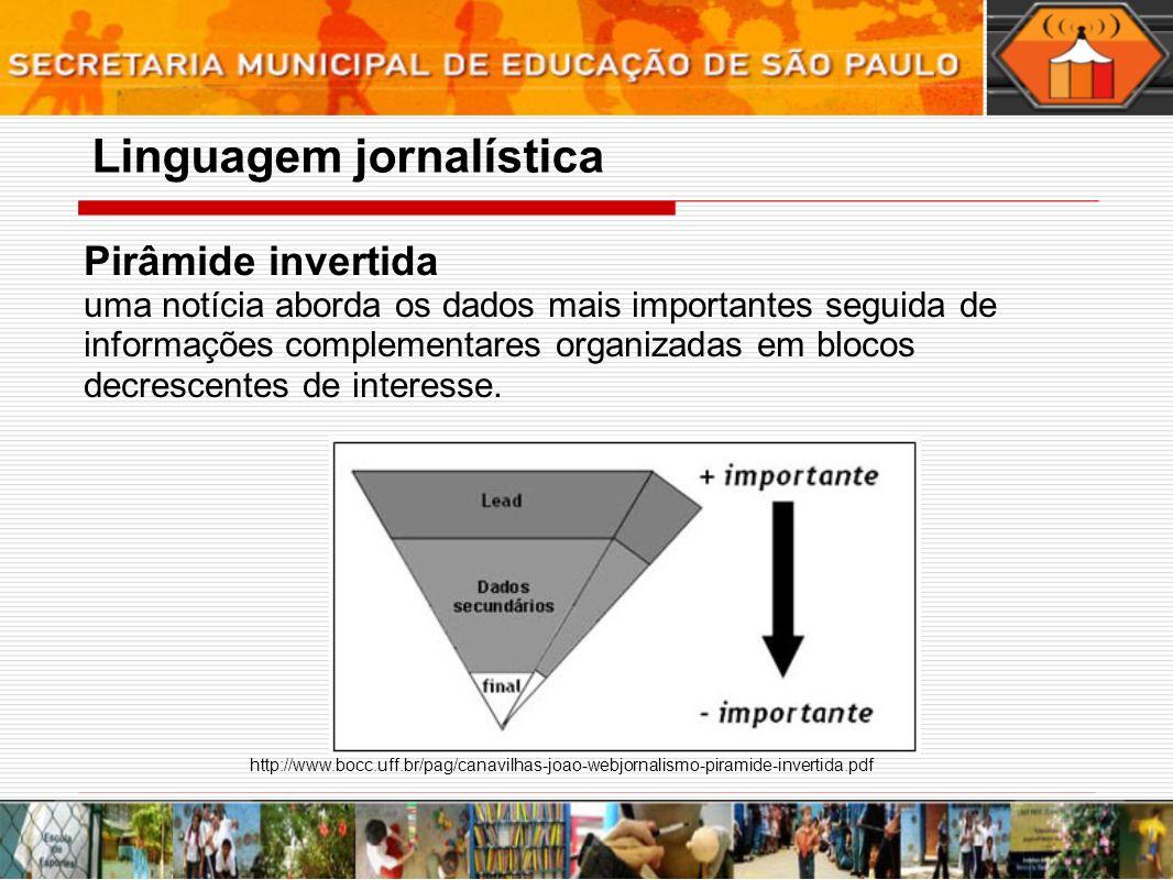 Pirâmide invertida uma notícia aborda os dados mais importantes seguida de informações complementares organizadas em blocos decrescentes de interesse.