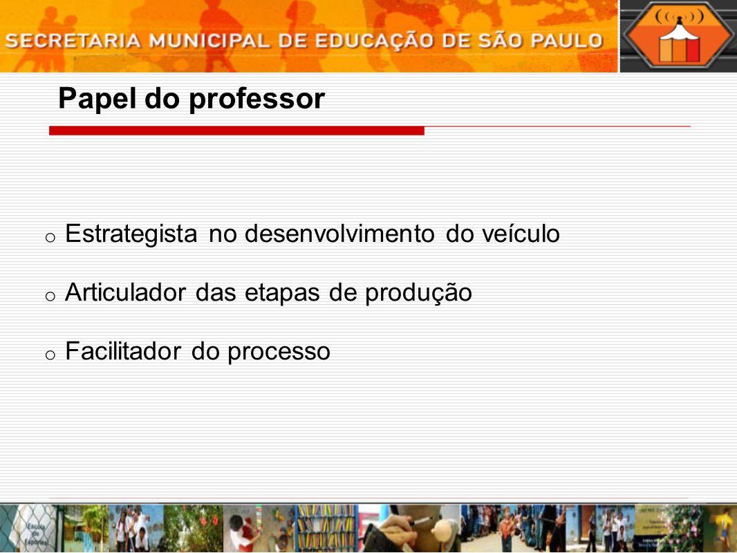 o Estrategista no desenvolvimento do veículo o Articulador das etapas de produção o Facilitador do processo Papel do professor