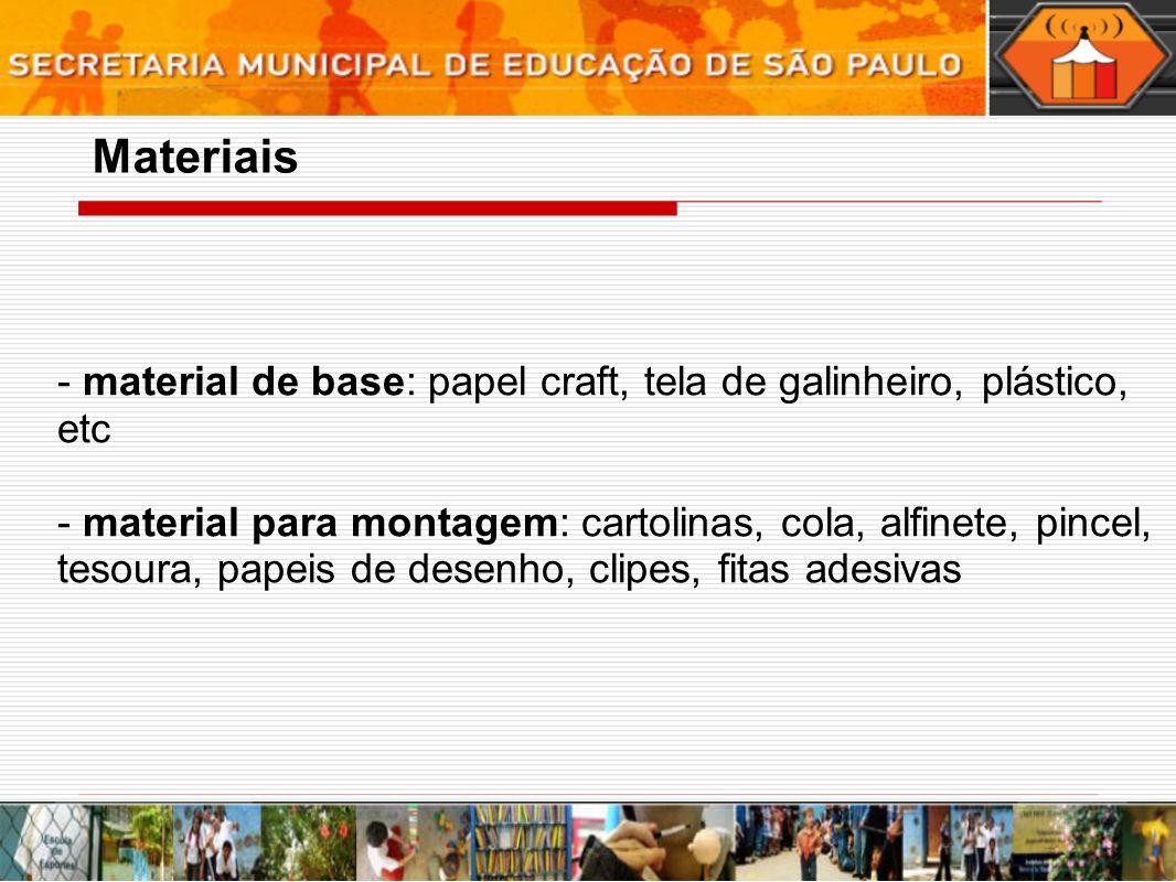 - material de base: papel craft, tela de galinheiro, plástico, etc - material para montagem: cartolinas, cola, alfinete, pincel, tesoura, papeis de desenho, clipes, fitas adesivas Materiais