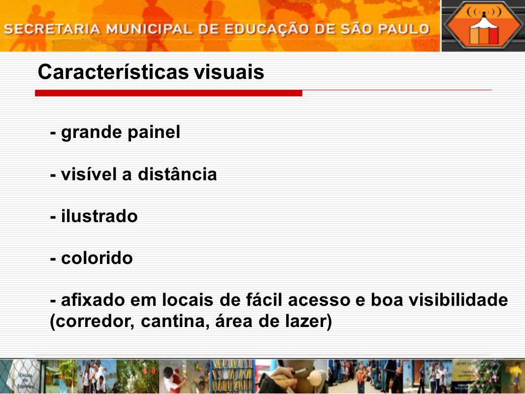 - grande painel - visível a distância - ilustrado - colorido - afixado em locais de fácil acesso e boa visibilidade (corredor, cantina, área de lazer) Características visuais