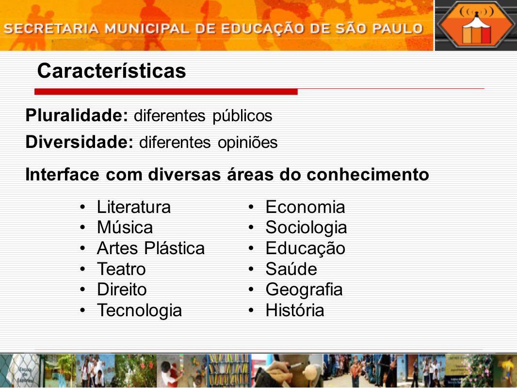 Pluralidade: diferentes públicos Diversidade: diferentes opiniões Interface com diversas áreas do conhecimento Economia Sociologia Educação Saúde Geog