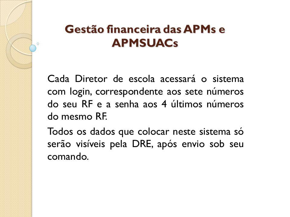 Gestão financeira das APMs e APMSUACs Cada Diretor de escola acessará o sistema com login, correspondente aos sete números do seu RF e a senha aos 4 ú