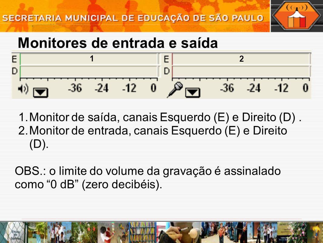 Monitores de entrada e saída 1.Monitor de saída, canais Esquerdo (E) e Direito (D). 2.Monitor de entrada, canais Esquerdo (E) e Direito (D). OBS.: o l