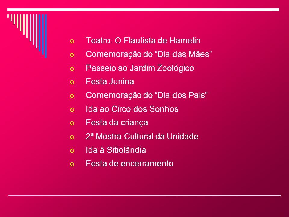 o Teatro: O Flautista de Hamelin o Comemoração do Dia das Mães o Passeio ao Jardim Zoológico o Festa Junina o Comemoração do Dia dos Pais o Ida ao Cir