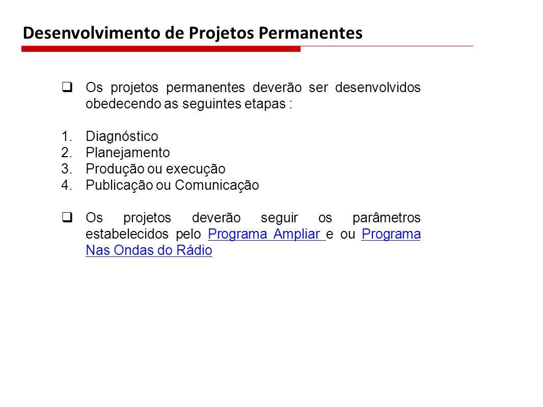 Desenvolvimento de Projetos Permanentes Os projetos permanentes deverão ser desenvolvidos obedecendo as seguintes etapas : 1.Diagnóstico 2.Planejament
