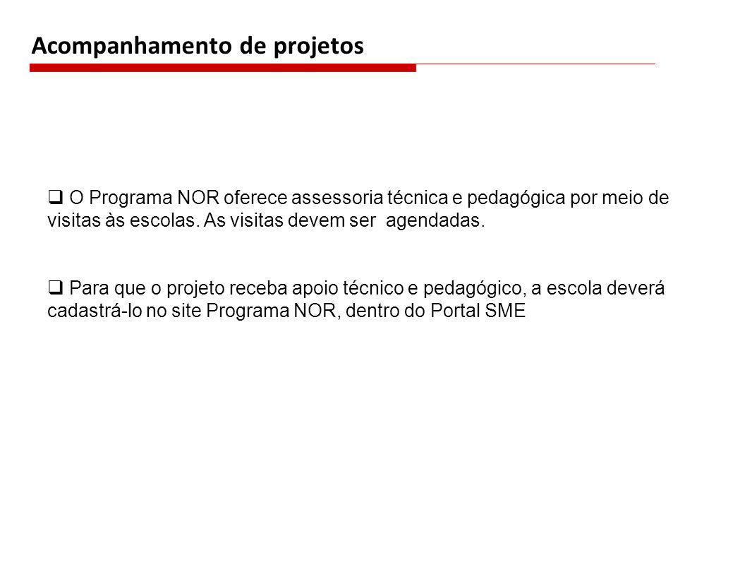 Acompanhamento de projetos O Programa NOR oferece assessoria técnica e pedagógica por meio de visitas às escolas.