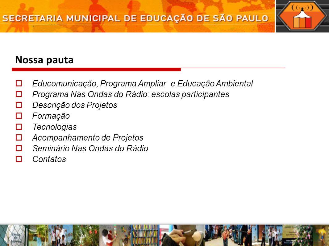 Nossa pauta Educomunicação, Programa Ampliar e Educação Ambiental Programa Nas Ondas do Rádio: escolas participantes Descrição dos Projetos Formação T