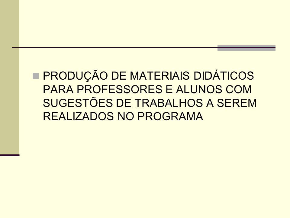 PRODUÇÃO DE MATERIAIS DIDÁTICOS PARA PROFESSORES E ALUNOS COM SUGESTÕES DE TRABALHOS A SEREM REALIZADOS NO PROGRAMA