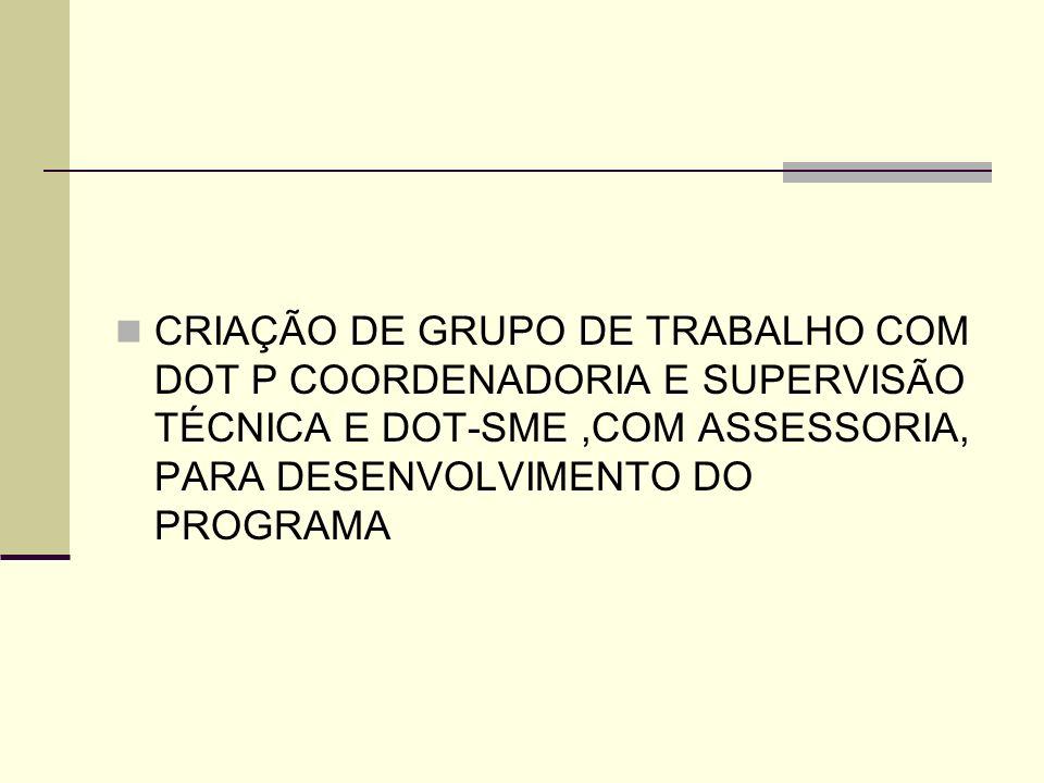 CRIAÇÃO DE GRUPO DE TRABALHO COM DOT P COORDENADORIA E SUPERVISÃO TÉCNICA E DOT-SME,COM ASSESSORIA, PARA DESENVOLVIMENTO DO PROGRAMA