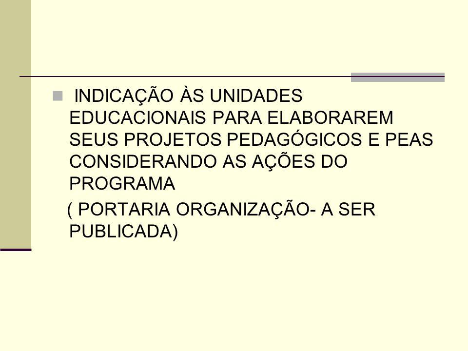INDICAÇÃO ÀS UNIDADES EDUCACIONAIS PARA ELABORAREM SEUS PROJETOS PEDAGÓGICOS E PEAS CONSIDERANDO AS AÇÕES DO PROGRAMA ( PORTARIA ORGANIZAÇÃO- A SER PU
