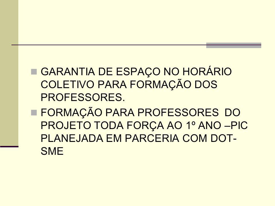GARANTIA DE ESPAÇO NO HORÁRIO COLETIVO PARA FORMAÇÃO DOS PROFESSORES. FORMAÇÃO PARA PROFESSORES DO PROJETO TODA FORÇA AO 1º ANO –PIC PLANEJADA EM PARC