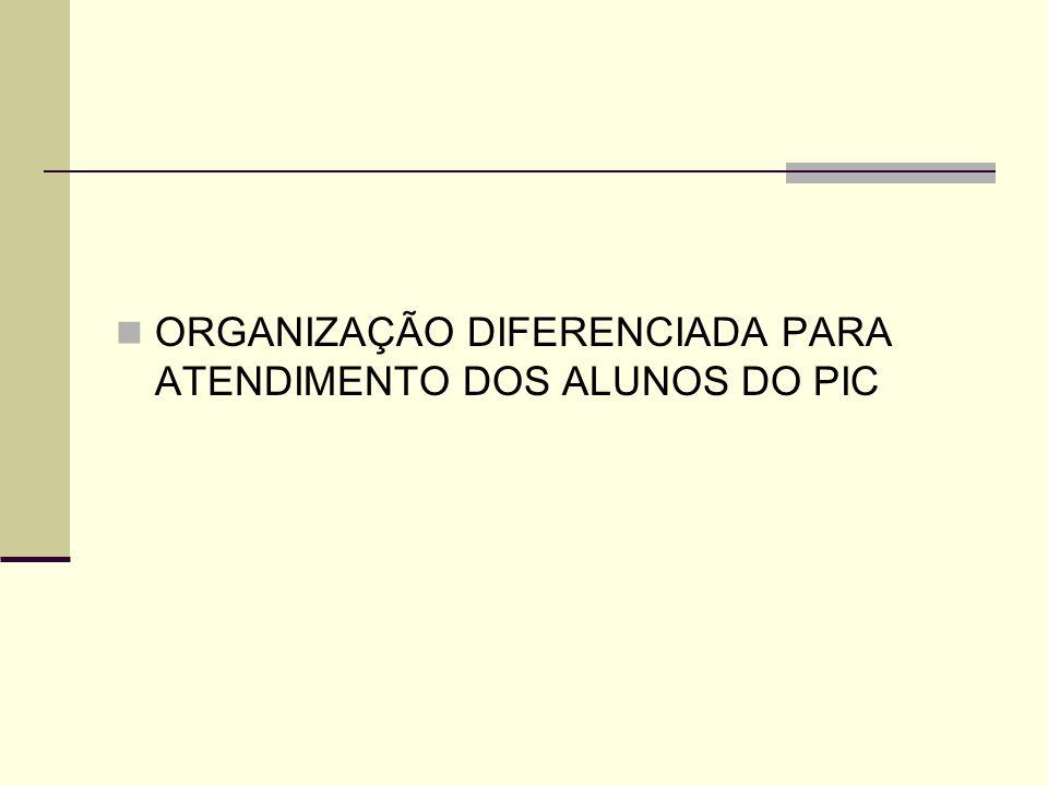 ORGANIZAÇÃO DIFERENCIADA PARA ATENDIMENTO DOS ALUNOS DO PIC