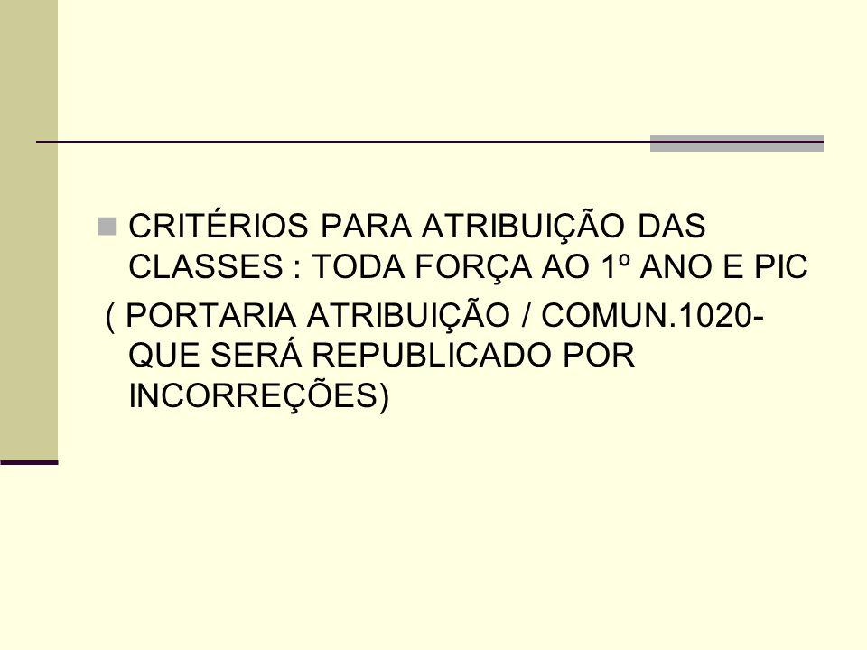 CRITÉRIOS PARA ATRIBUIÇÃO DAS CLASSES : TODA FORÇA AO 1º ANO E PIC ( PORTARIA ATRIBUIÇÃO / COMUN.1020- QUE SERÁ REPUBLICADO POR INCORREÇÕES)