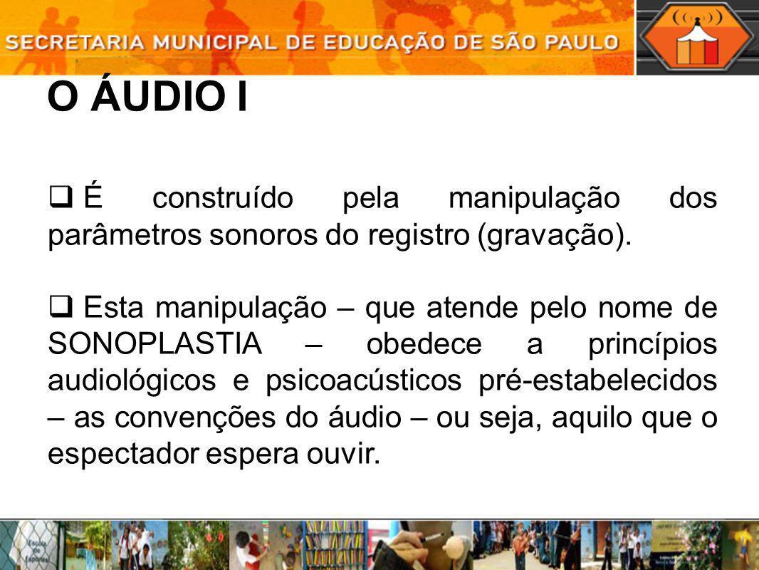 O ÁUDIO I É construído pela manipulação dos parâmetros sonoros do registro (gravação). Esta manipulação – que atende pelo nome de SONOPLASTIA – obedec