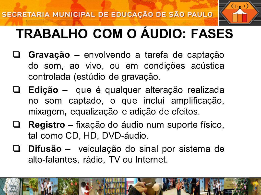 TRABALHO COM O ÁUDIO: FASES Gravação – envolvendo a tarefa de captação do som, ao vivo, ou em condições acústica controlada (estúdio de gravação. Ediç