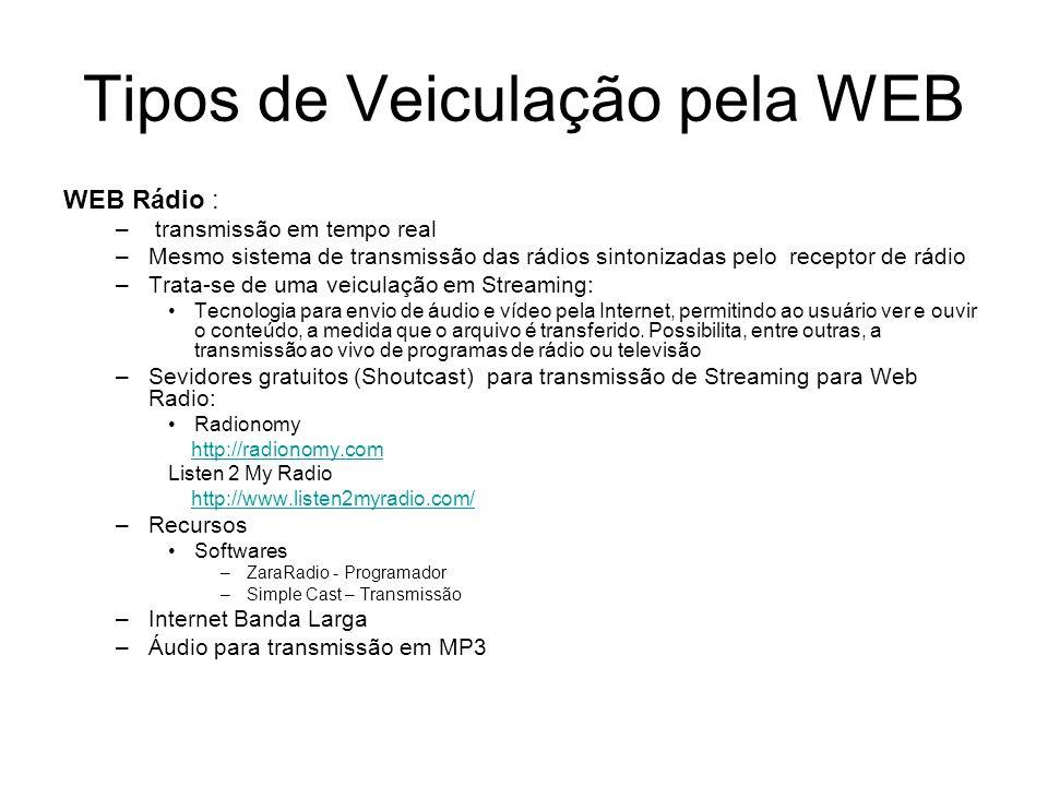 Tipos de Veiculação pela WEB WEB Rádio : – transmissão em tempo real –Mesmo sistema de transmissão das rádios sintonizadas pelo receptor de rádio –Tra
