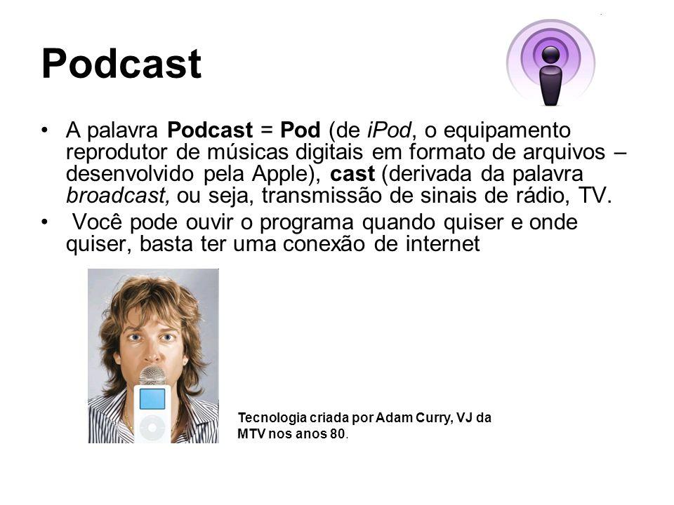 Podcast A palavra Podcast = Pod (de iPod, o equipamento reprodutor de músicas digitais em formato de arquivos – desenvolvido pela Apple), cast (derivada da palavra broadcast, ou seja, transmissão de sinais de rádio, TV.