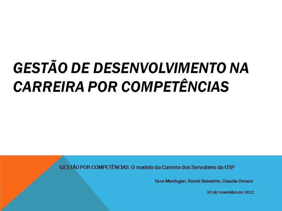 GESTÃO DE DESENVOLVIMENTO NA CARREIRA POR COMPETÊNCIAS Yara Mardegan, Rozeli Balestrim, Claudia Denani 30 de novembro de 2011 GESTÁO POR COMPETÊNCIAS: