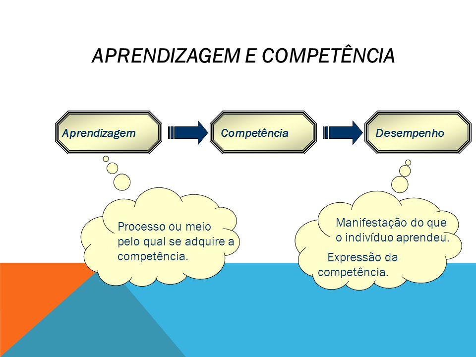 AprendizagemCompetênciaDesempenho Processo ou meio pelo qual se adquire a competência. Manifestação do que o indivíduo aprendeu. Expressão da competên