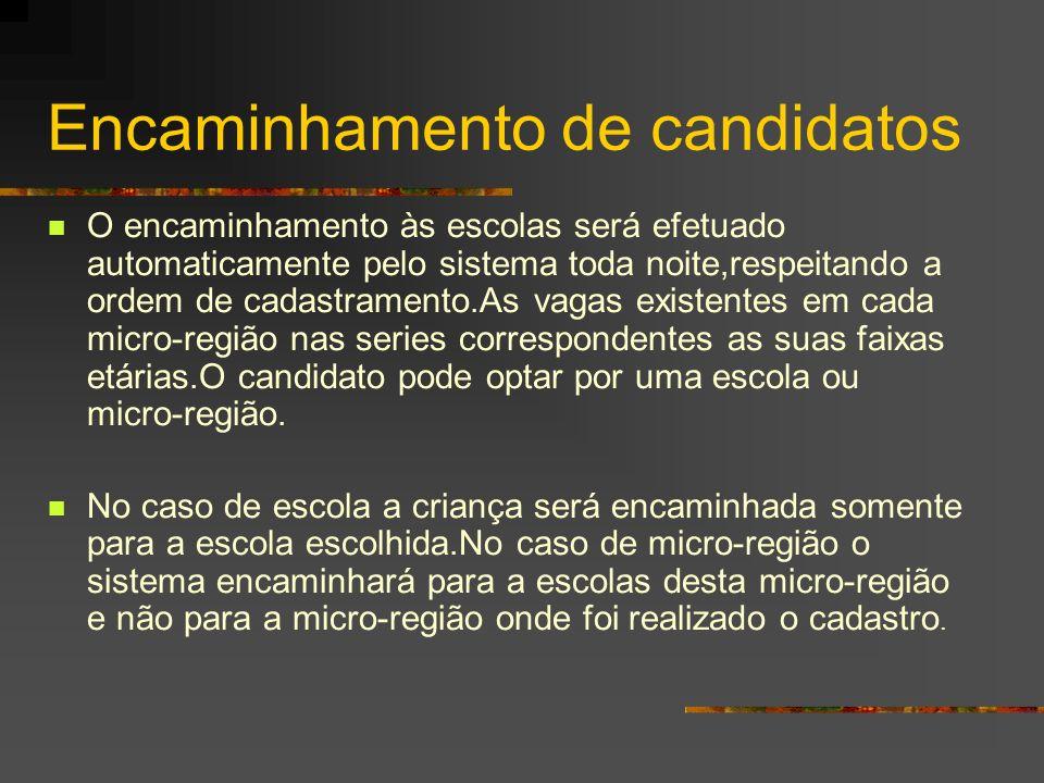 Encaminhamento de candidatos O encaminhamento às escolas será efetuado automaticamente pelo sistema toda noite,respeitando a ordem de cadastramento.As