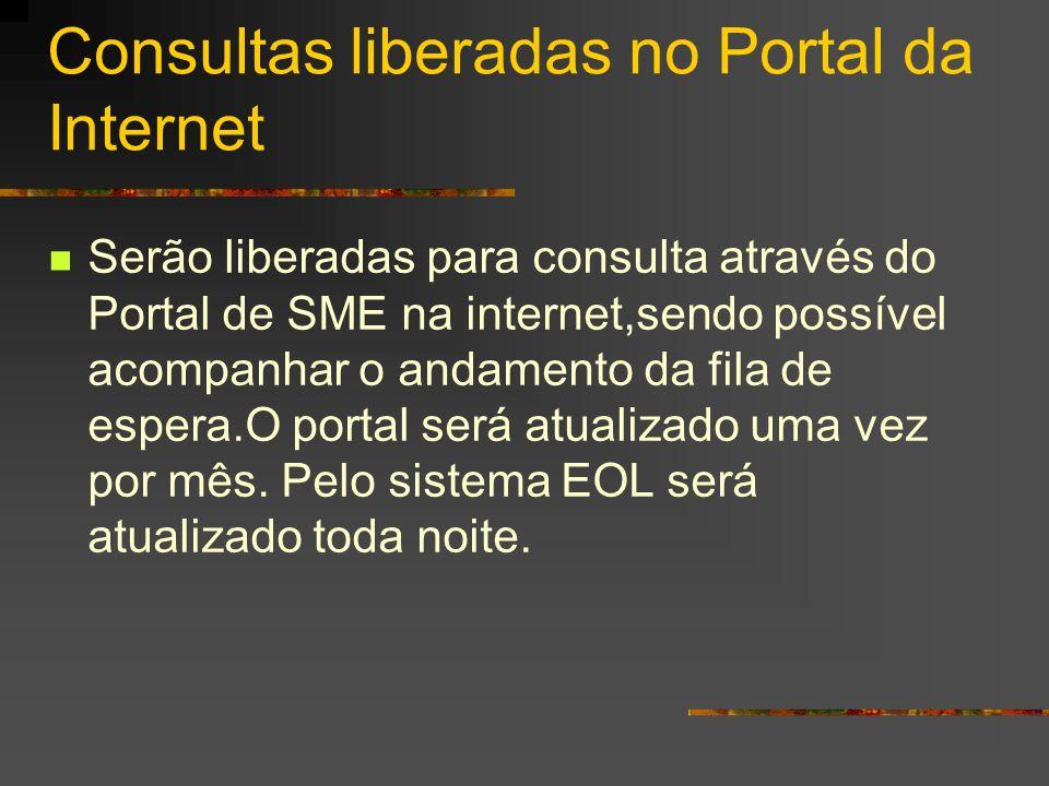 Consultas liberadas no Portal da Internet Serão liberadas para consulta através do Portal de SME na internet,sendo possível acompanhar o andamento da