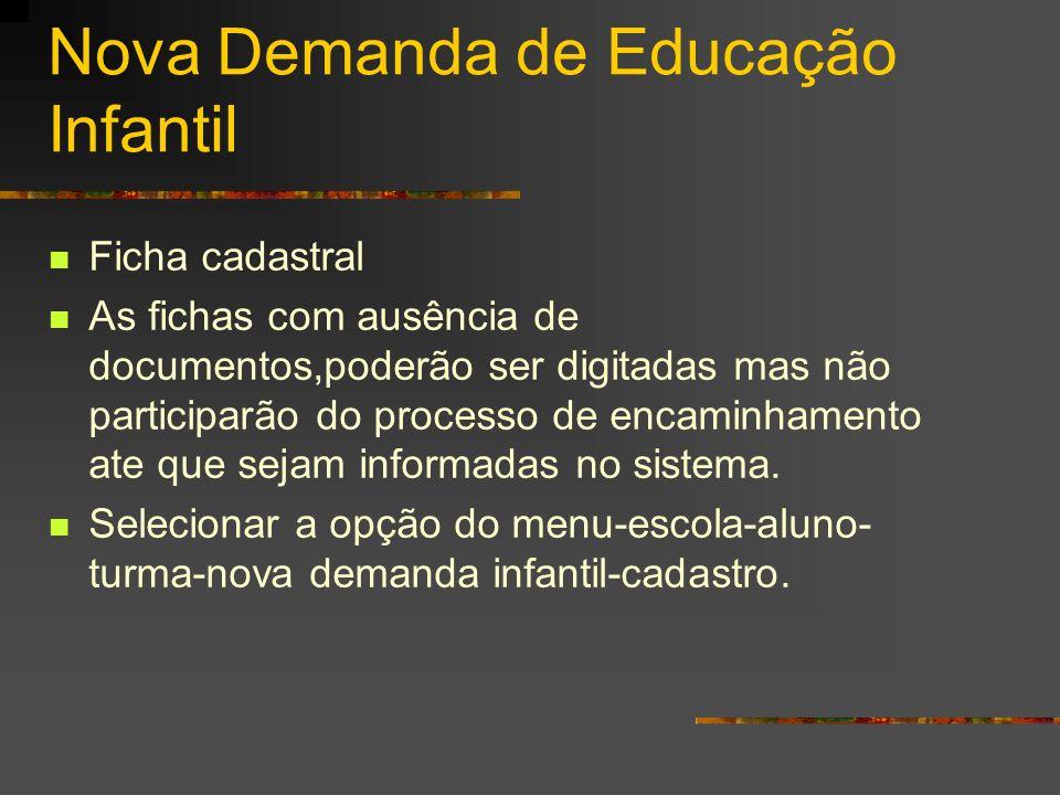 Nova Demanda de Educação Infantil Ficha cadastral As fichas com ausência de documentos,poderão ser digitadas mas não participarão do processo de encam