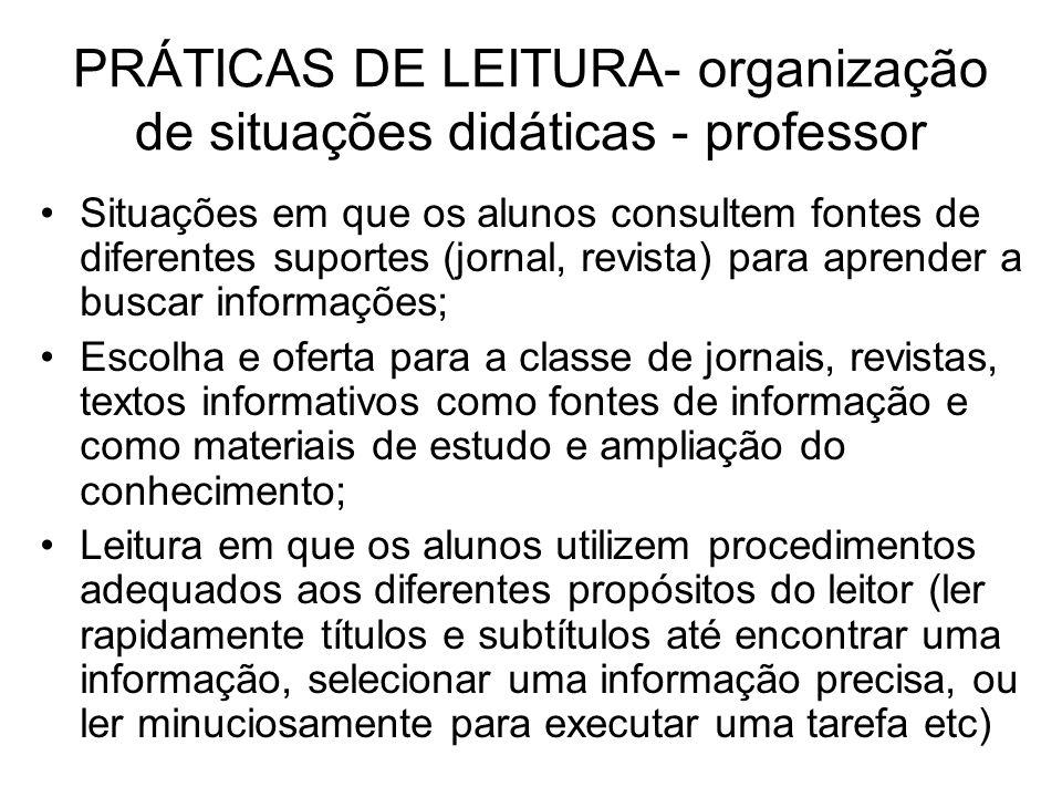 PRÁTICAS DE LEITURA- organização de situações didáticas - professor Situações em que os alunos consultem fontes de diferentes suportes (jornal, revist